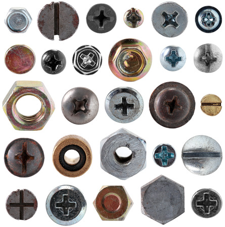 bolts heads: Screws head nut bolt collection set isolated on white background Stock Photo