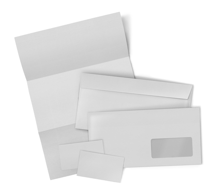 stationary set: business stationary set. envelope, sheet of paper and business card on white