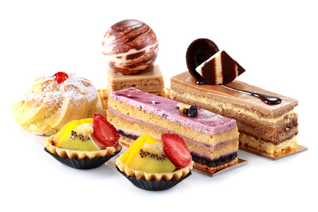 collection of various cakes on white background photo