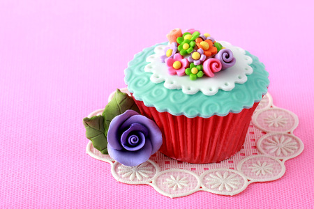 close up of a beautiful colorful cupcake photo
