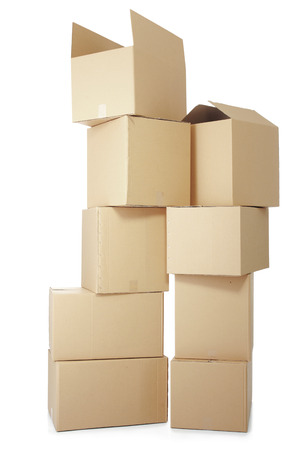 stockpiling: piles of cardboard boxes on a white background Stock Photo