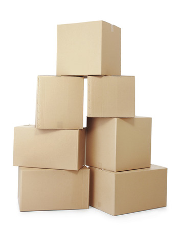 moving office: piles of cardboard boxes on a white background Stock Photo