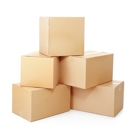 distribution box: piles of cardboard boxes on a white background Stock Photo