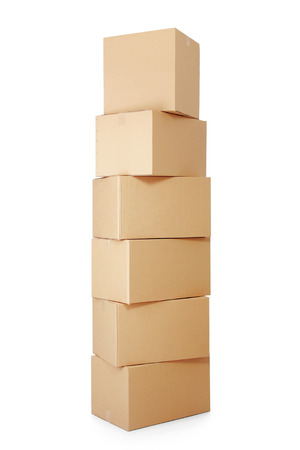 corrugated box: piles of cardboard boxes on a white background Stock Photo