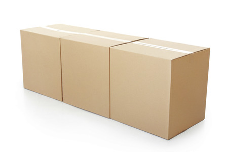 stockpiling: three Closed cardboard box taped up and isolated on a white background.