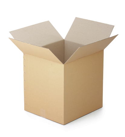 opened cardboard box isolated on a white background. photo