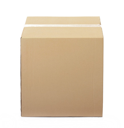 cardboards: Closed cardboard box taped up and isolated on a white background. Stock Photo