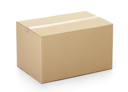 段ボールの箱に録音され、白い背景で隔離されました。