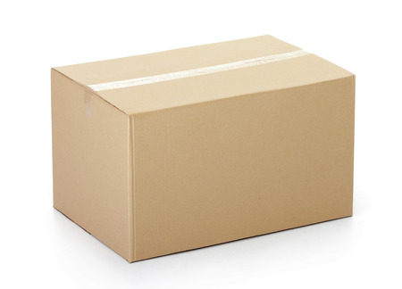 closed: Closed cardboard box taped up and isolated on a white background. Stock Photo