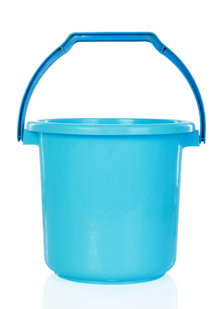 Blue plastic bucket isolated over white background Stock Photo - 24980113