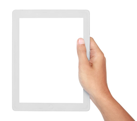 photo of a tablet held by two hands isolated on white background photo