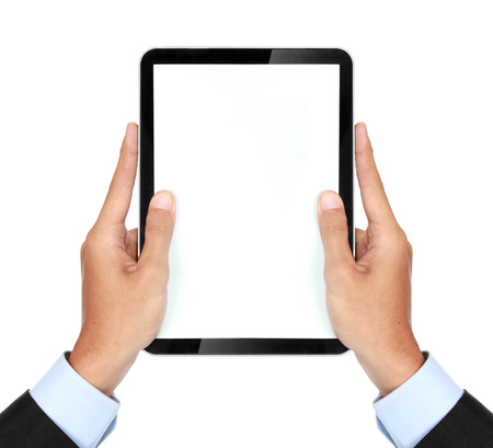 photo of a tablet held by vertically isolated on white background photo