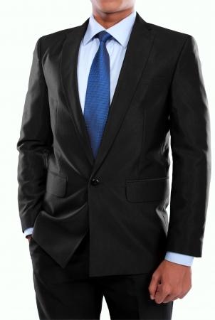 portret van de man in pak geïsoleerd op witte achtergrond Stockfoto