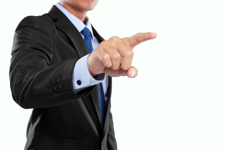 businessman hand pushing virtual screen on white background photo