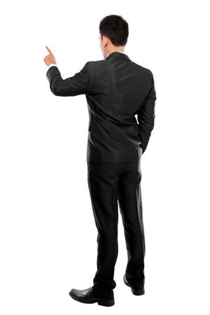 businessman hand pushing virtual screen on white background photo