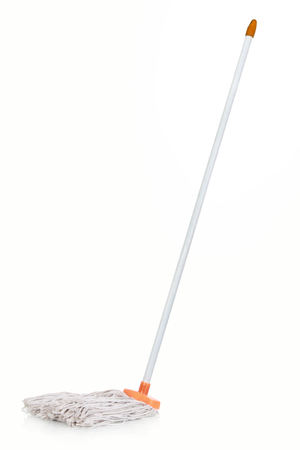 mop the floor: single plastic mop isolated over white background