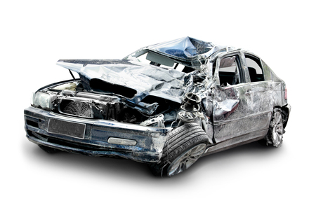 traffic accident: car in an accident isolated on a white background