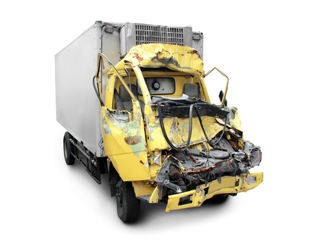 scrunch: truck in an accident isolated on a white background