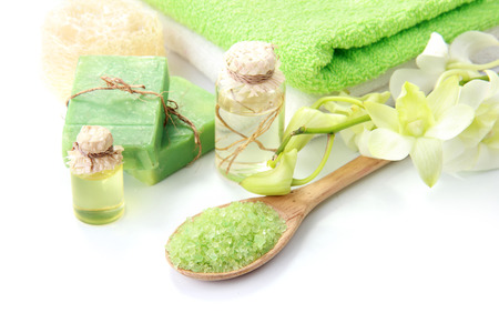 green life: green spa isolated on white background with copyspace