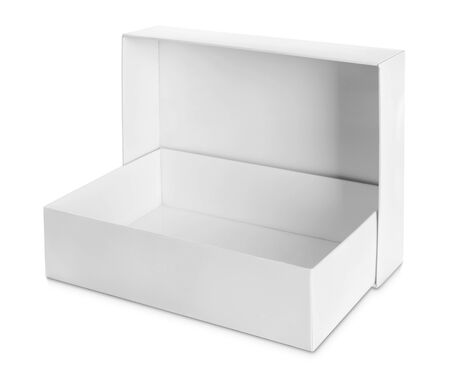 closed box: white Package Box isolated over white background Stock Photo