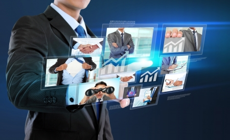 business man with social network connection concept. push to virtual screen Stock Photo - 25351795