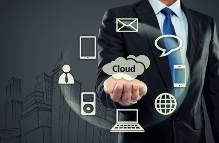 portrait of Business man with cloud computing concept on virtual background photo