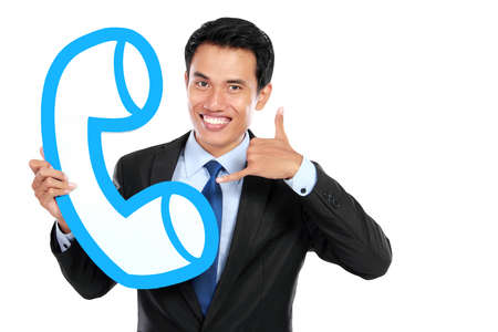 Businessman with phone icon. happy call centre operator photo