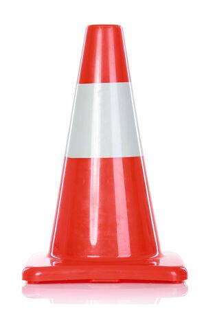 Orange Road Hazard cone, isolated over white background Stock Photo