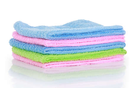 hardwearing: colorful microfiber cleaning towels, over white background
