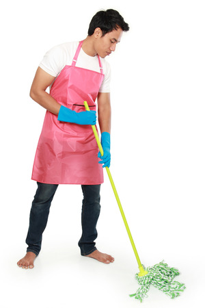 antiseptic: Portrait of young man with cleaning equipment. mopping the floor isolated over white background