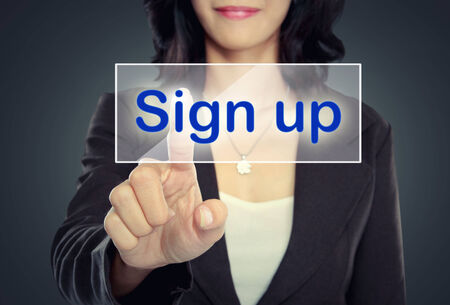 subscribe: woman push to  Sign Up button on virtual screen