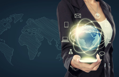Businesswoman presenting global network media concept Stock Photo - 25935170