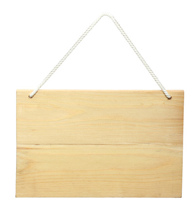 hanging sign: Wood sign from a rope. isolated over white background