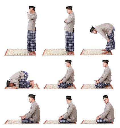 collection portrait of man muslim doing prayer isolated over white background