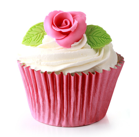 pink cake: Sweet cupcake delicious isolated over white background