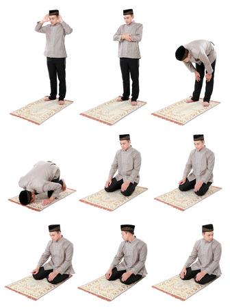 白い背景の上の男のコレクション ポートレート イスラム教徒の祈りを行う分離