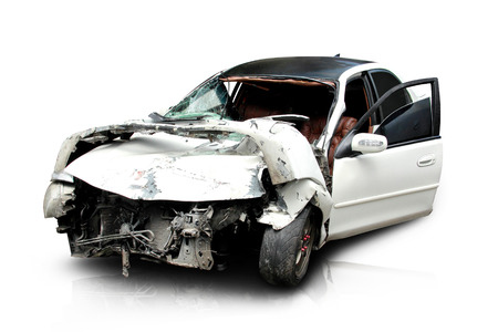 white car in an accident isolated on a white background photo