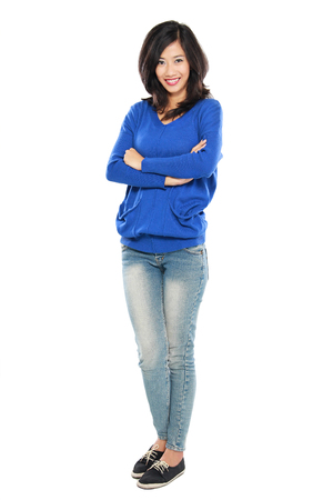 lovely woman: Asian woman isolated on white background  Casual woman smiling looking happy in blue t-shirt