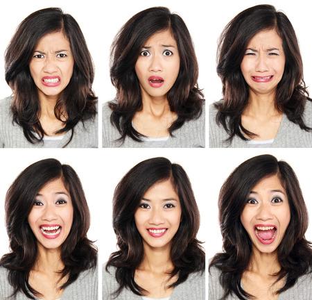 흰색 배경에 고립 된 다른 표정의 얼굴 세트와 젊은 여자