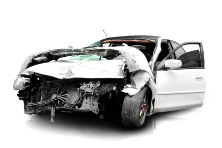 road accident: white car in an accident isolated on a white background