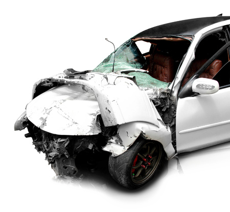 car crash: white car in an accident isolated on a white background