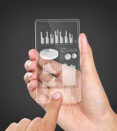 beeld van handen houden van futuristische transparante mobiele telefoon. zakelijke grafiek financiële concept
