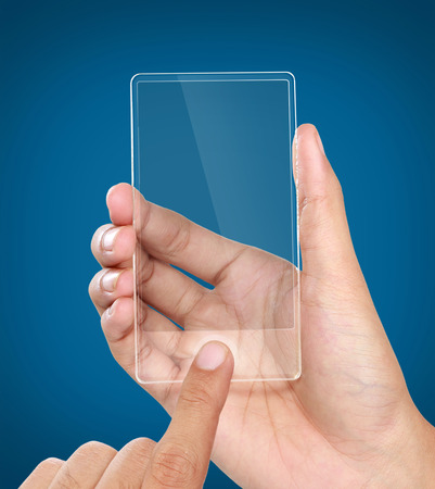 image of hands holding futuristic transparent mobile phone photo