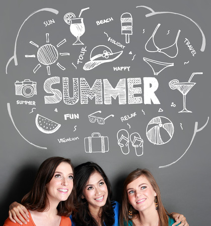 flops: young group friend smiling thinking of summer vacation. Sketches on top of her. Stock Photo