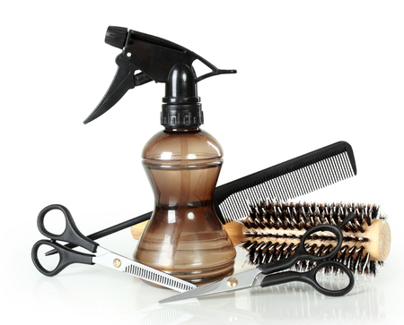 Professional hairdresser tools, isolated on white background photo