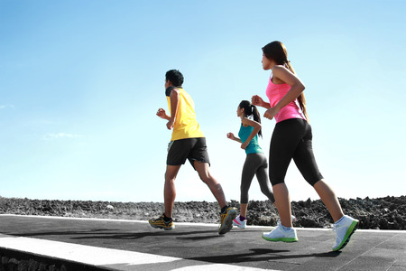 portrait of people running together. sport exercise photo