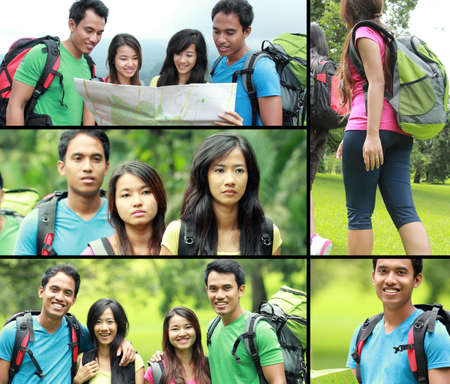 collage photo of hiking people  camping trip together photo