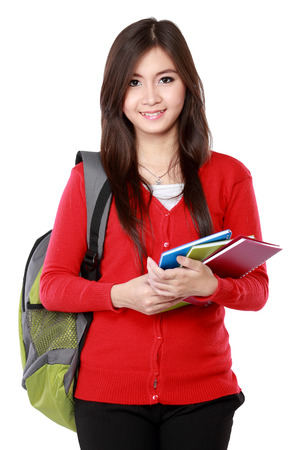 Portrait of Pretty asian female student portrait isolated over white background