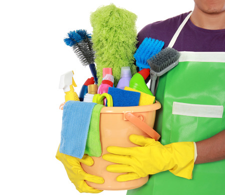 house worker: Portrait of man with cleaning equipment ready to clean house