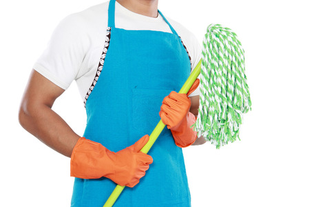 housecleaning: Portrait of mans body with mop cleaning equipment isolated on white